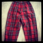 Highwaisted Tartan Stirrup Wool Trouser. Vintage size 8, $35 plus postage