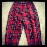 Highwaisted Tartan Stirrup Wool Trouser. Vintage size 8, $35 plus postage
