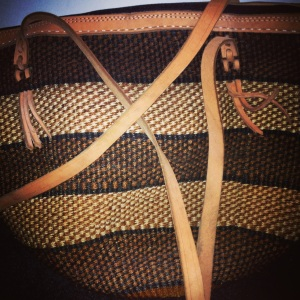 Leather and woven bag