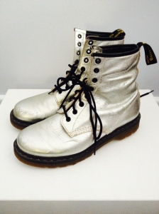 Silver leather Doc Martin boots. Have some scuffs, super soft leather. Size 10, EU 42, UK 8. $55 plus postage