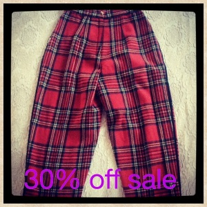 Highwaisted 80's wool tartan stirrup pants. Size 6-8. Was $35 now $25