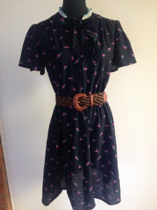 Navy floral print dress, size 10-12 with elasticated waist. $30.