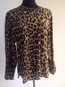 Silk leopard print blouse, size 10-12, immaculate condition. $40
