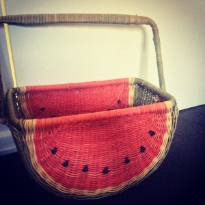 Watermelon wicker basket $45