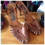 Love heart snake skin heels