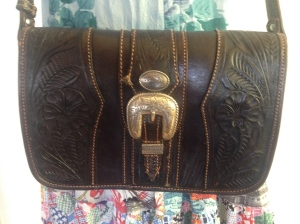Western tooled bag, $45