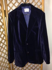 Navy velvet blazer, size 14. $40.00