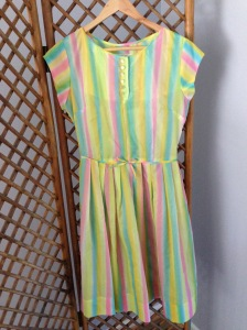 Poly rainbow frock, size 10. $40