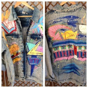 Distressed oversize handpainted acid wash denim jacket from USA. $65