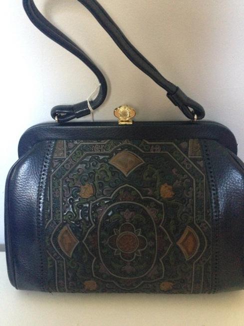 Navy Vintage vinyl bag $35