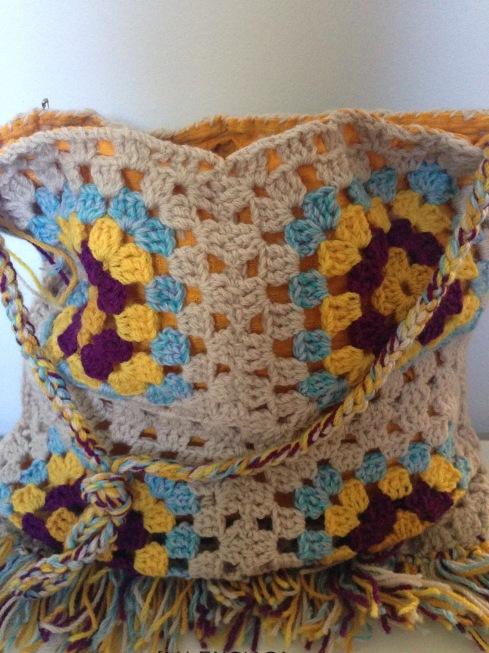 Hand crochet boho slouch bag