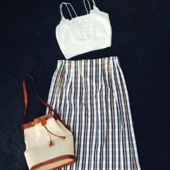 Handmade knit top, $25. Maxi strip cotton denim skirt, size 12, $40 and leather bucket bag, $35.