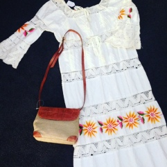 70's, size 10-12 crochet and cotton maxi $75, linen and leather Italian made bag $45