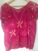 Embroidered hibiscus boho top. Size S/M, $35